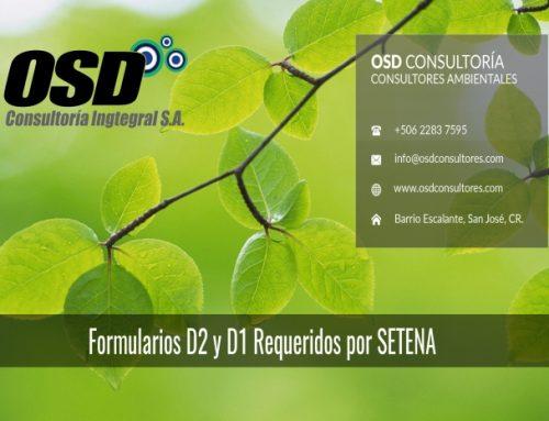 Formularios D2 y D1 requeridos por SETENA